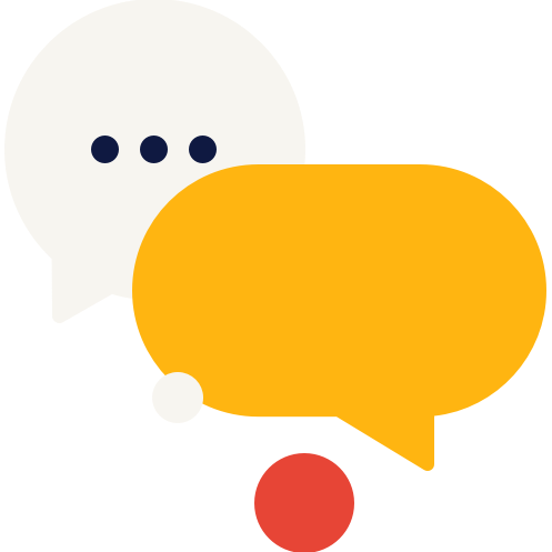yellow and taupe speech bubble